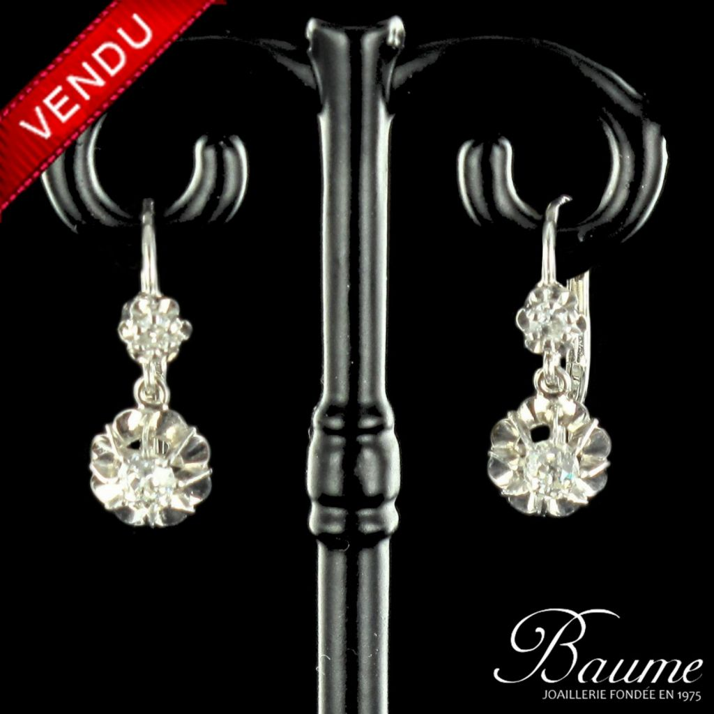 Boucles d 'oreilles trembleuses or blanc et diamants