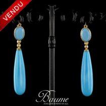 Boucles d 'oreilles turquoise - Création exclusive bijoux Baume