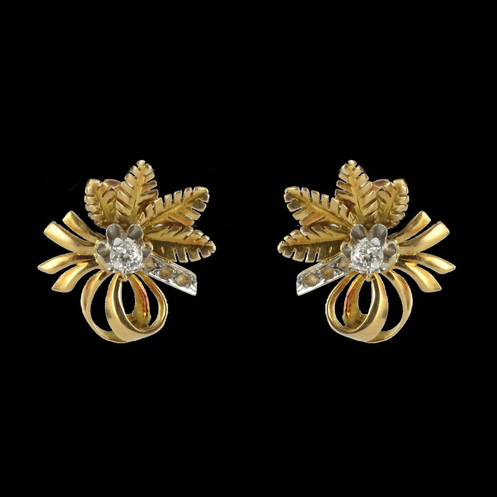 Boucles d 'oreilles vintage diamants
