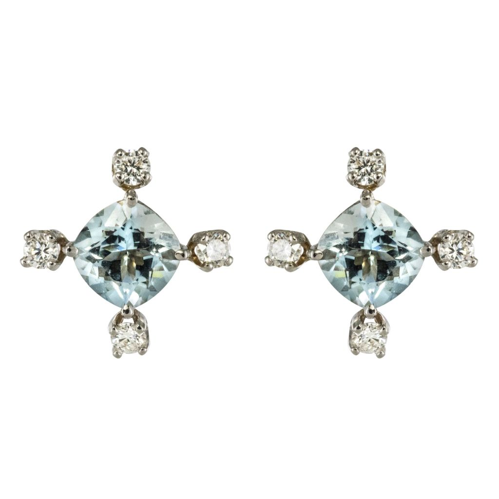 Boucles d\'oreilles aigue-marine diamants