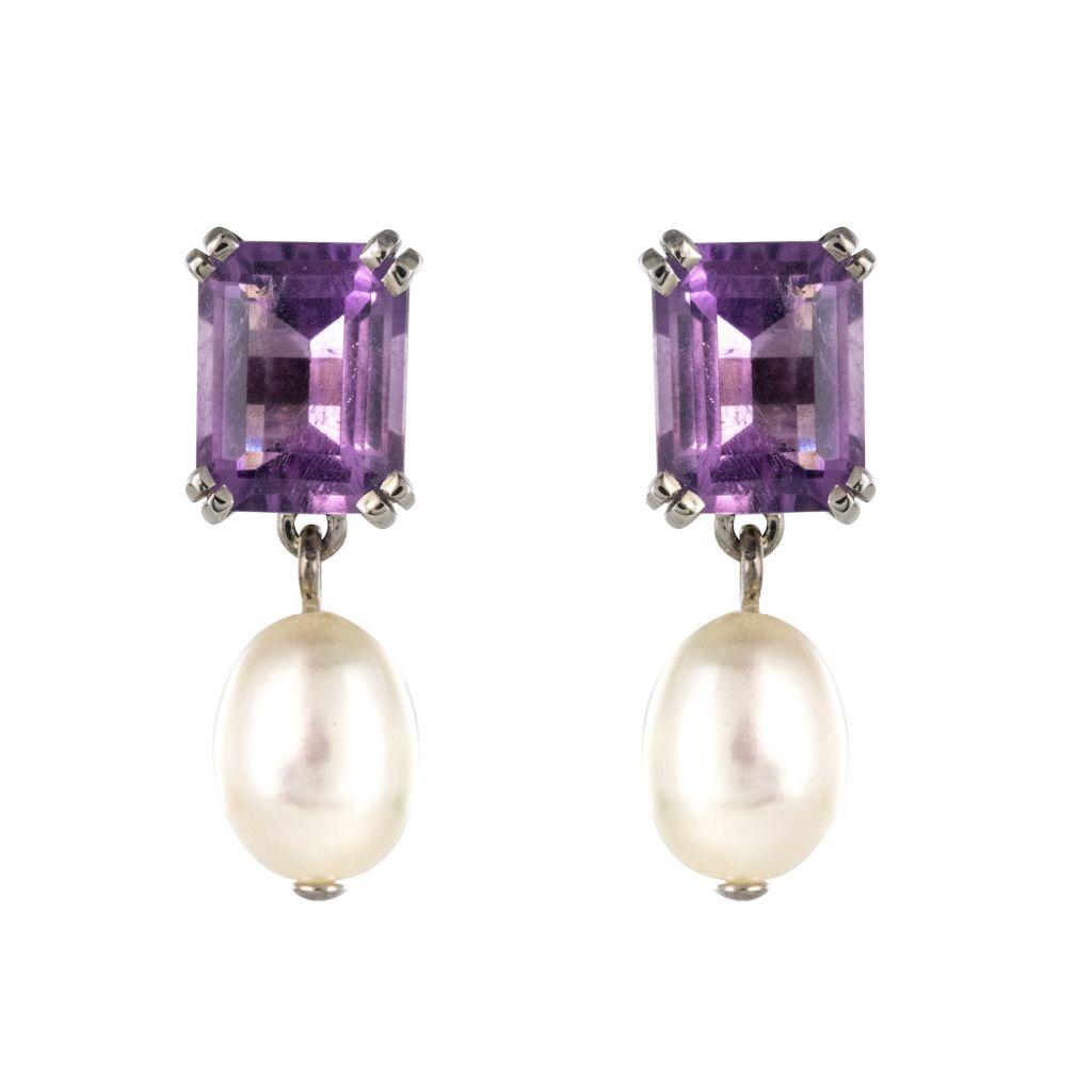Boucles d\'oreilles améthystes et perles