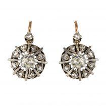 Boucles d\'oreilles ancienne dormeuse or rose diamants