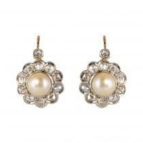 Boucles d\'oreilles ancienne perles diamants