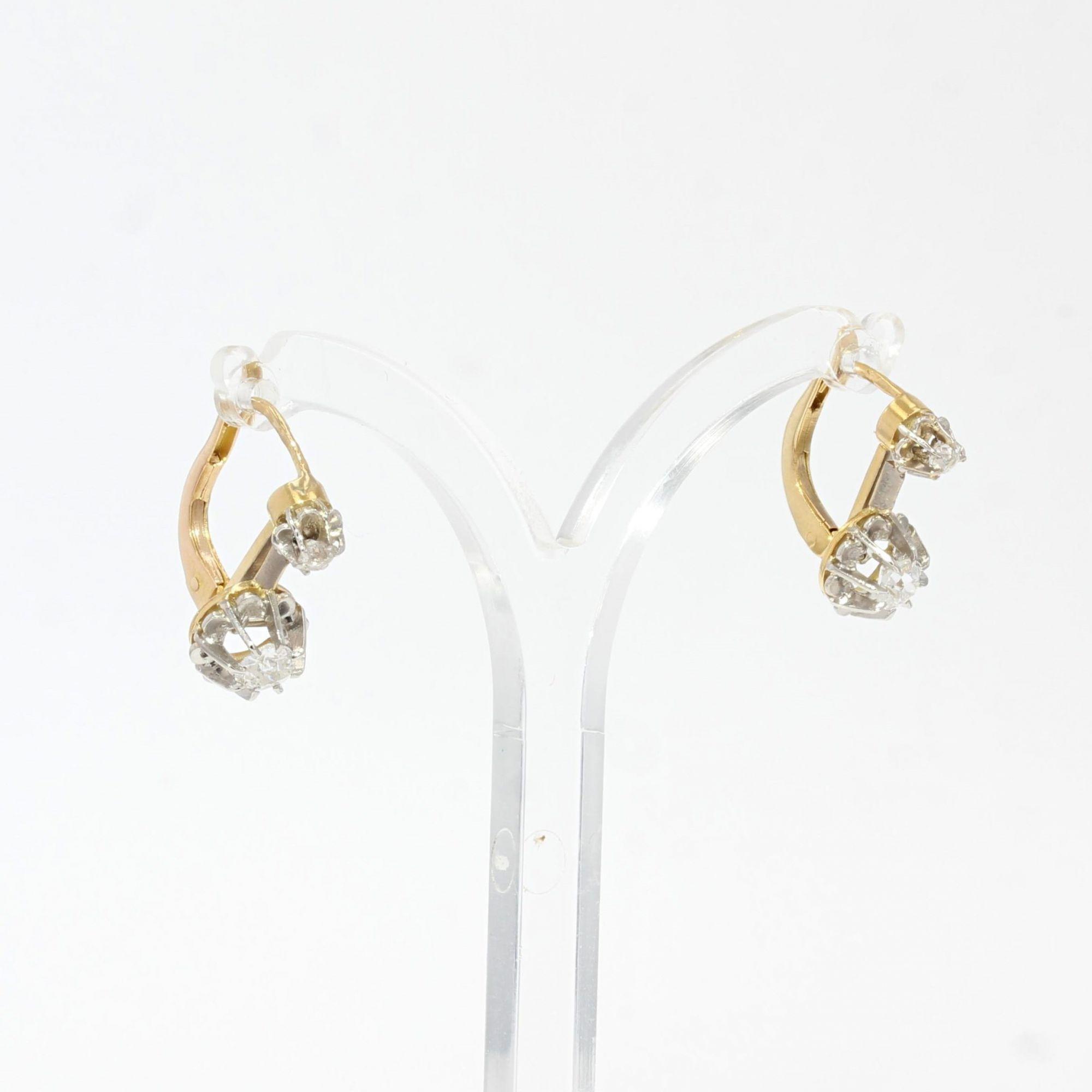 Boucles d\'oreilles anciennes diamants en dormeuses