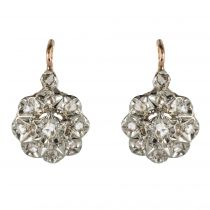 Boucles d\'oreilles anciennes diamants marguerite