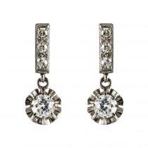Boucles d\'oreilles anciennes diamants
