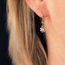 Boucles d\'oreilles anciennes diamants taillés en rose