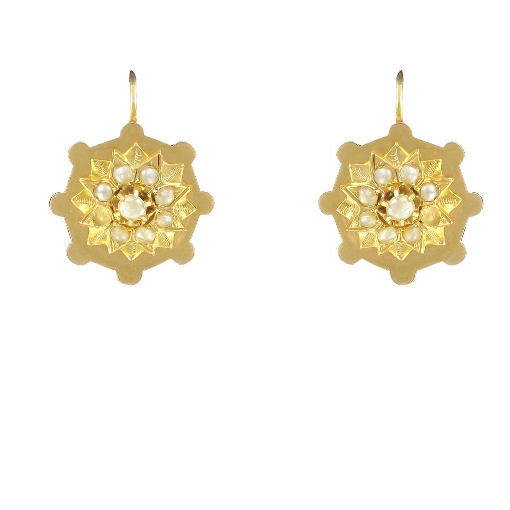 boucles d 39 oreilles anciennes or rose perles fines bijou ancien. Black Bedroom Furniture Sets. Home Design Ideas