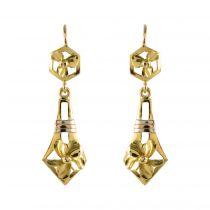 Boucles d\'oreilles anciennes pendantes en or