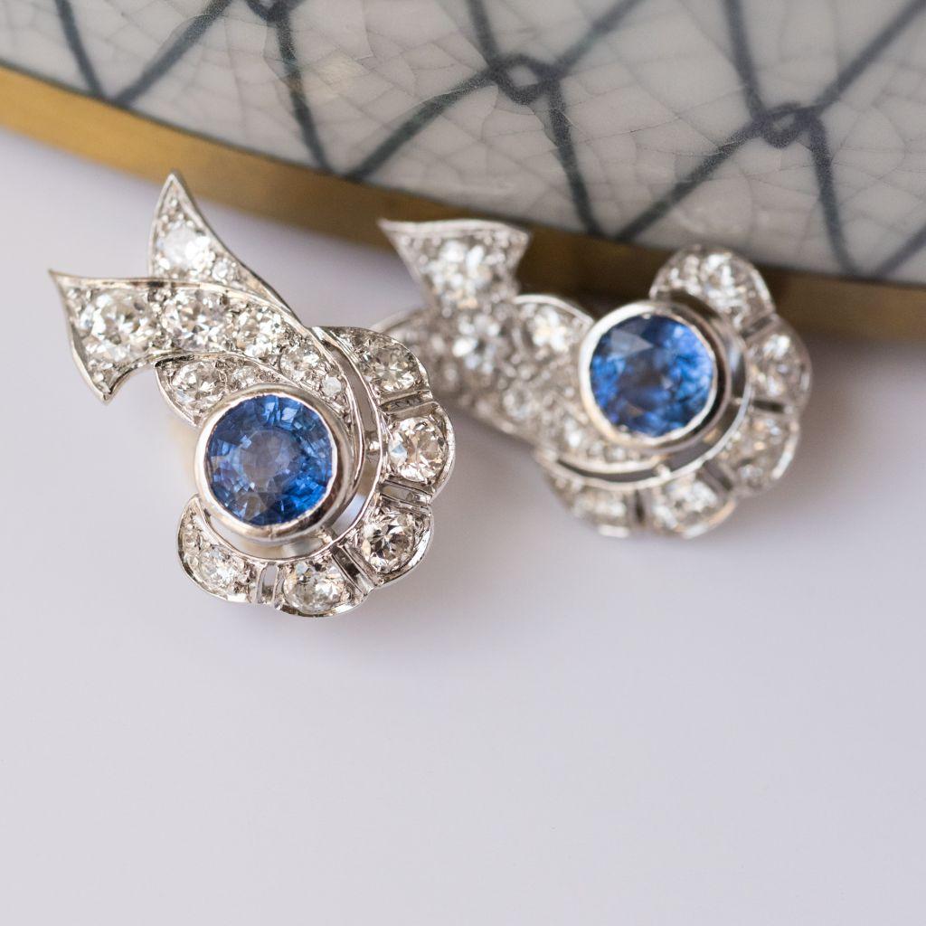 Boucles d\'oreilles art déco saphir diamants