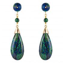 Boucles d\'oreilles azurmalachites et lapis lazuli