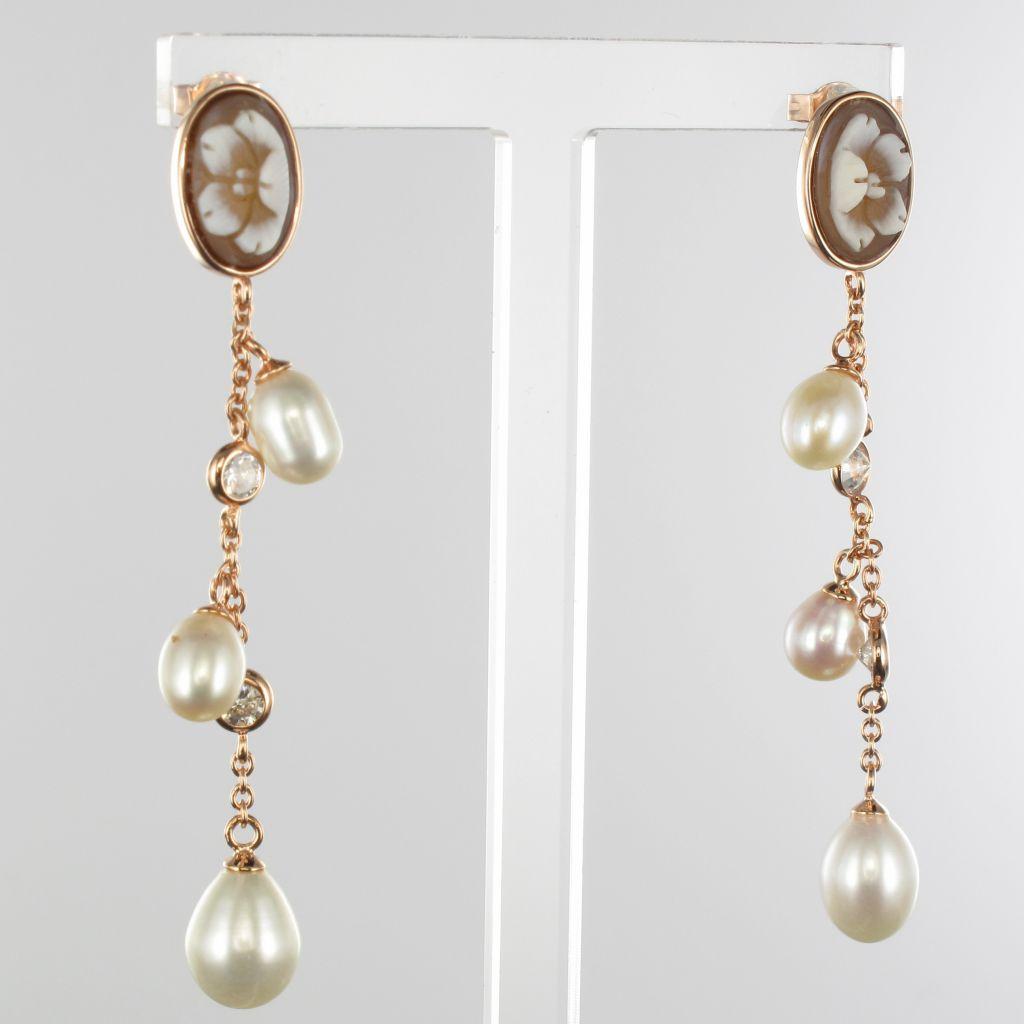 Boucles d\'oreilles camée perles et cristaux
