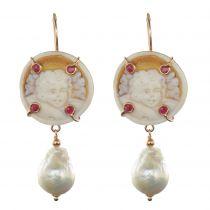 Boucles d\'oreilles camées angelots cristaux et perle baroque
