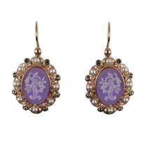 Boucles d\'oreilles camées fleurs perles et cristaux