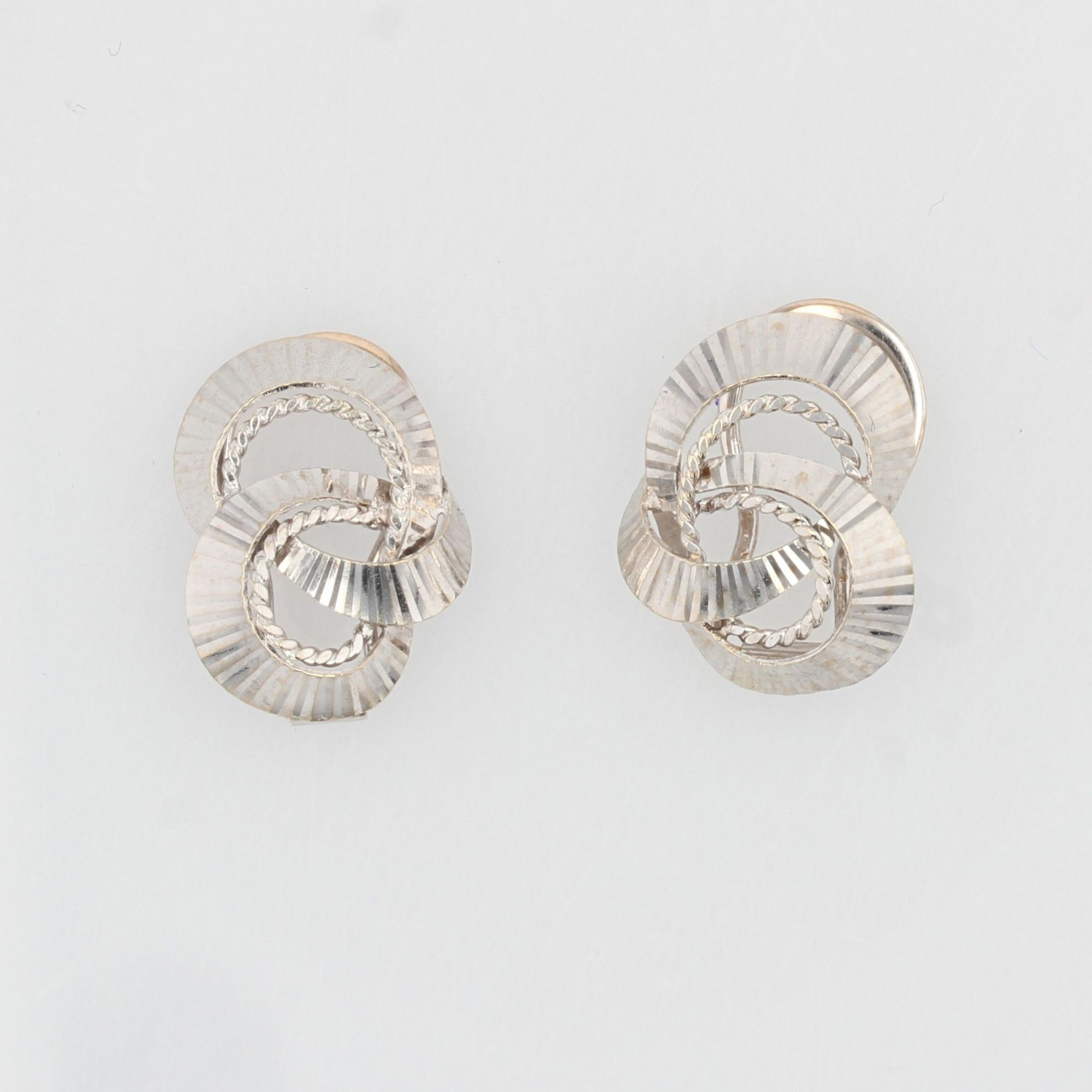 Boucles d\'oreilles clips or blanc vintage