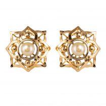 Boucles d\'oreilles clips or perle
