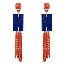 Boucles d\'oreilles corail lapis lazuli et diamants