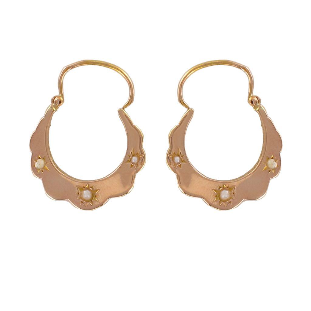 boucles d 39 oreilles cr oles anciennes perles fines bijouxbaume. Black Bedroom Furniture Sets. Home Design Ideas