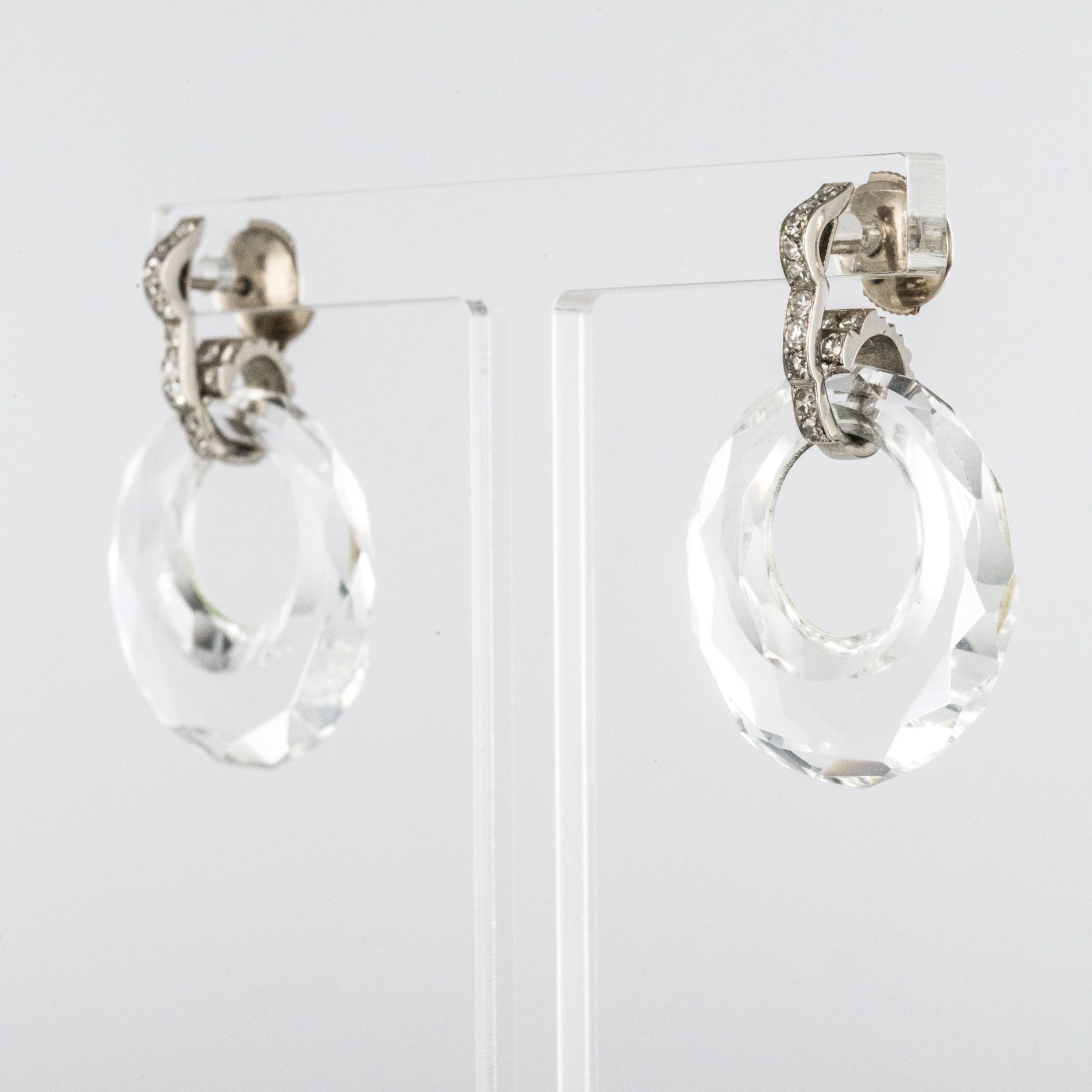 Boucles d\'oreilles cristal de roche diamants