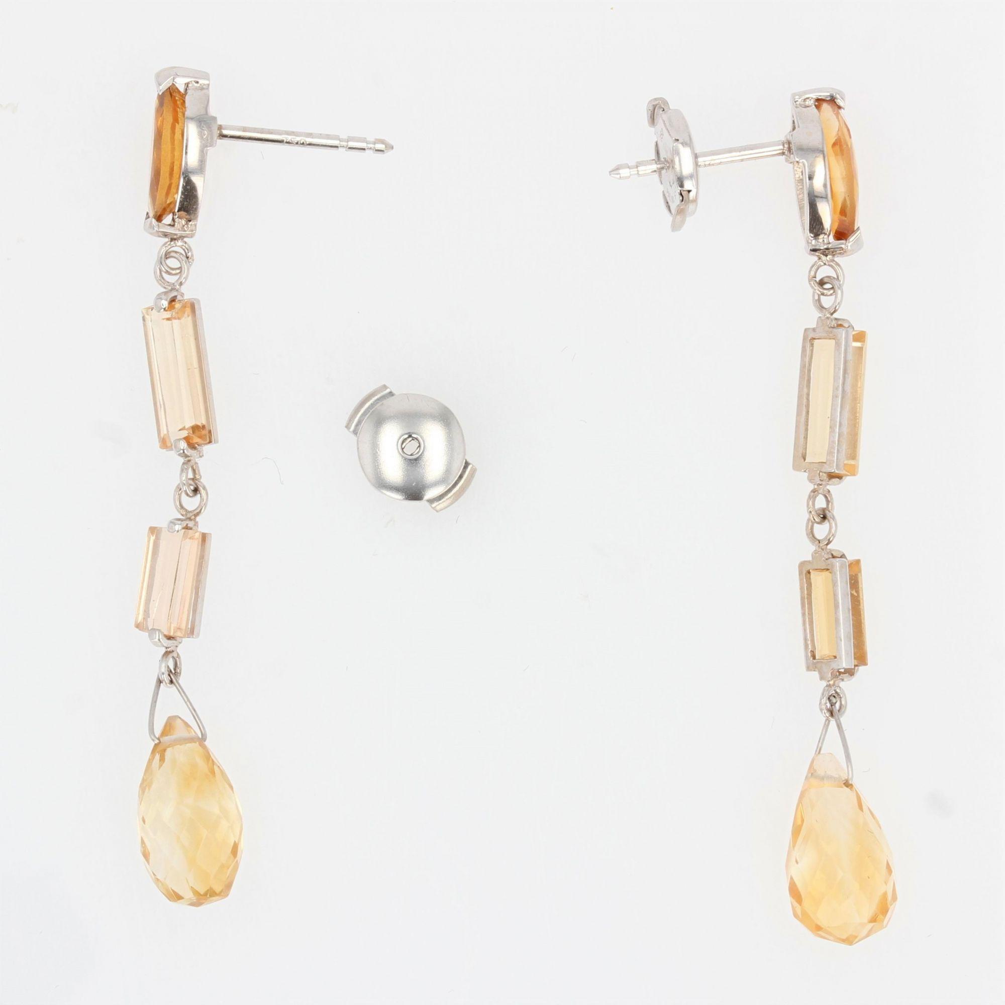Boucles d\'oreilles de création pendantes citrines