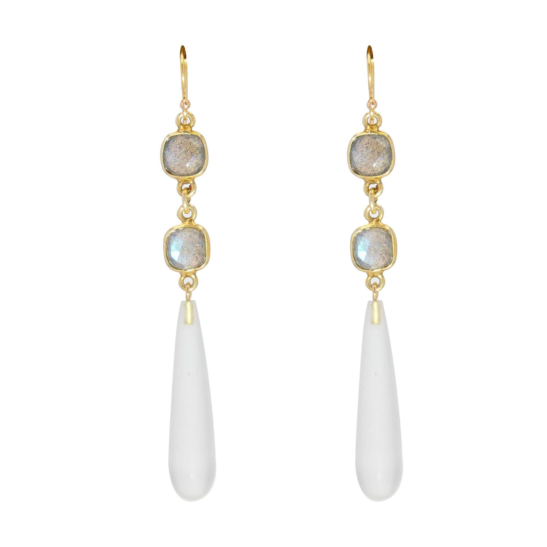 Boucles d\'oreilles de création quartz poli et labradorites