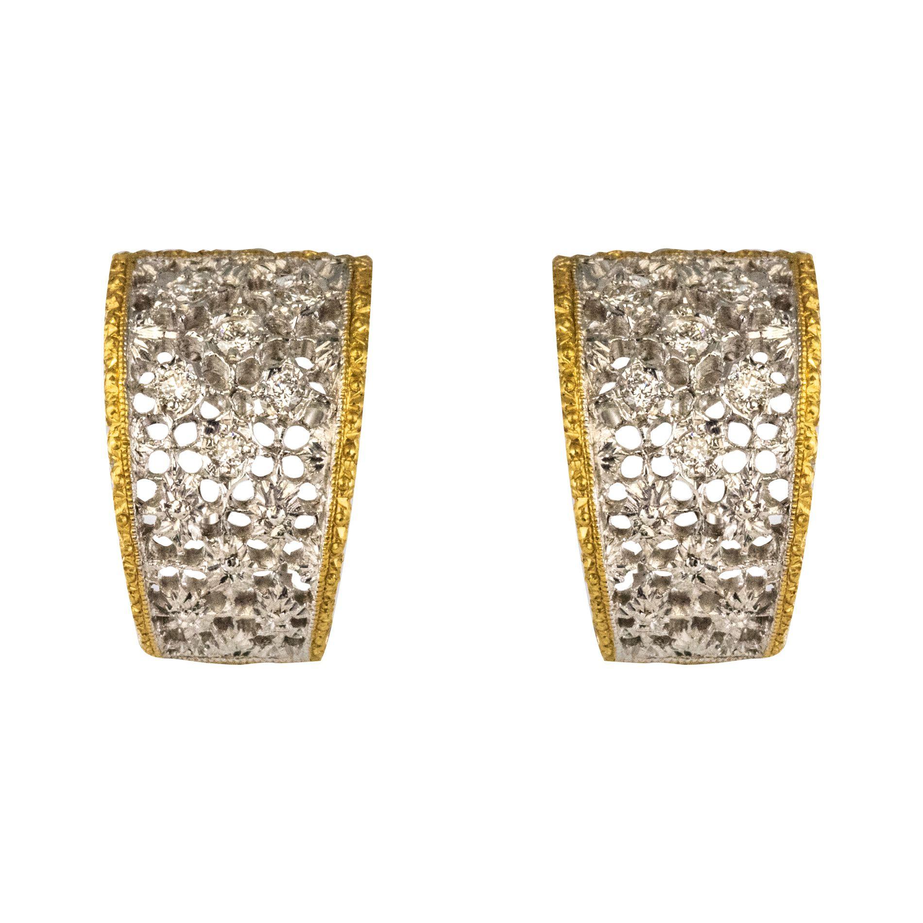 Boucles d\'oreilles diamants dentelle d\'ors