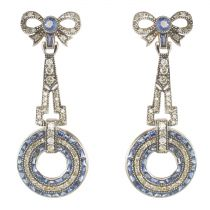 Boucles d\'oreilles diamants et saphirs vermeil