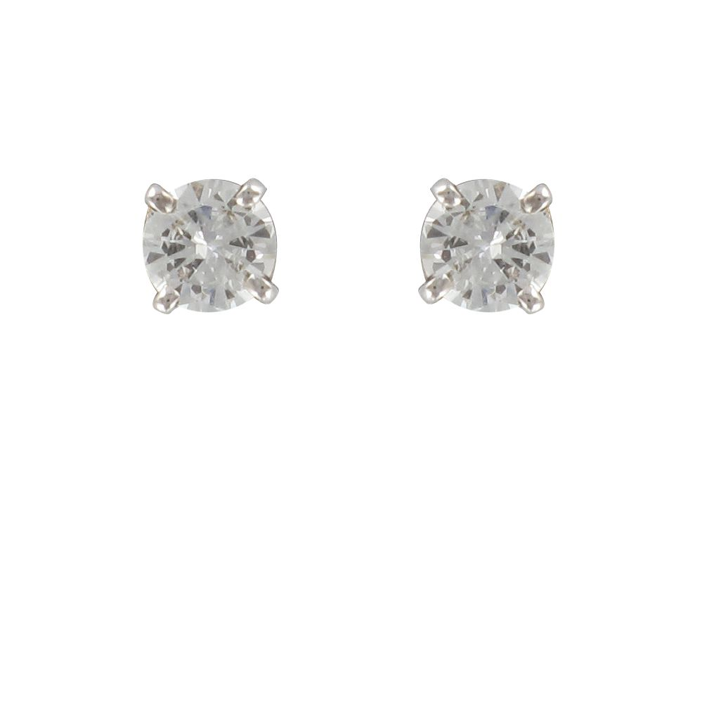 Boucles d\'oreilles diamants puces or blanc