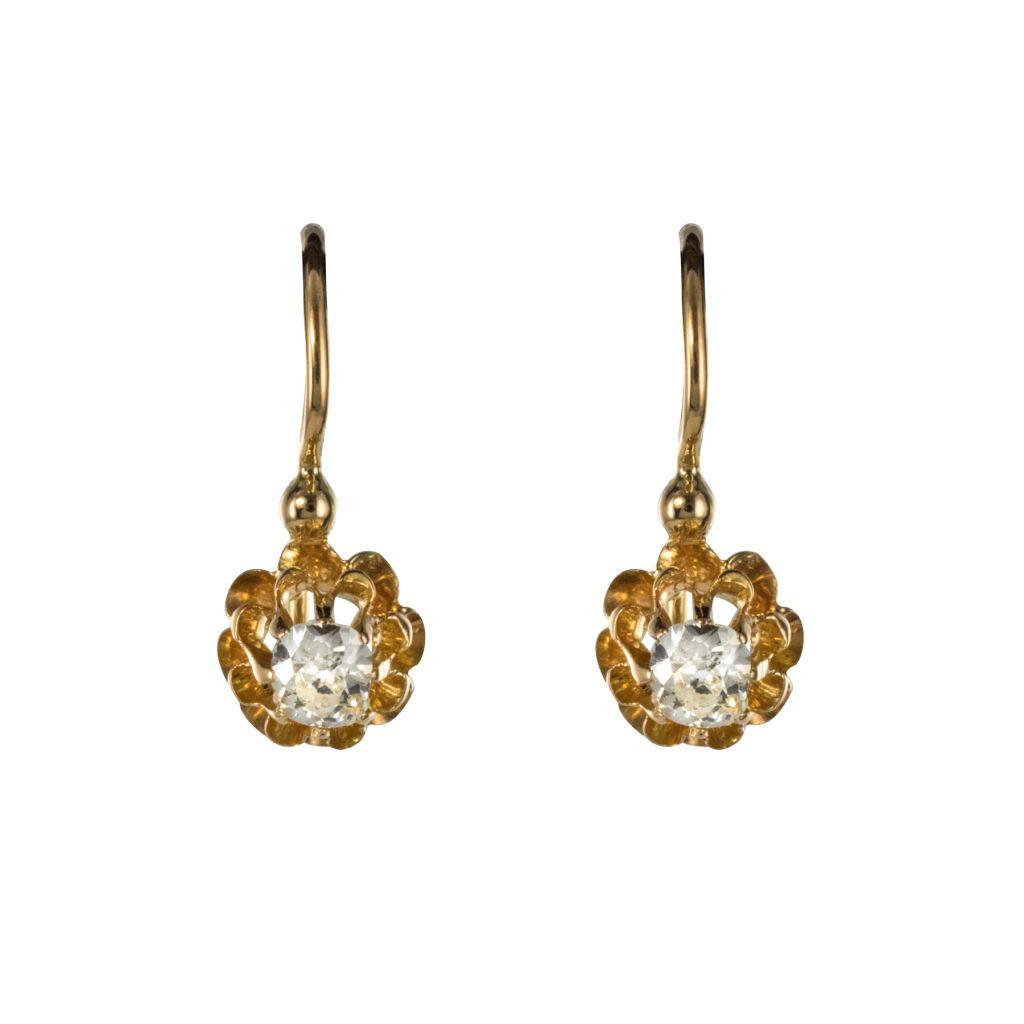 Boucles d\'oreilles dormeuses diamants or jaune