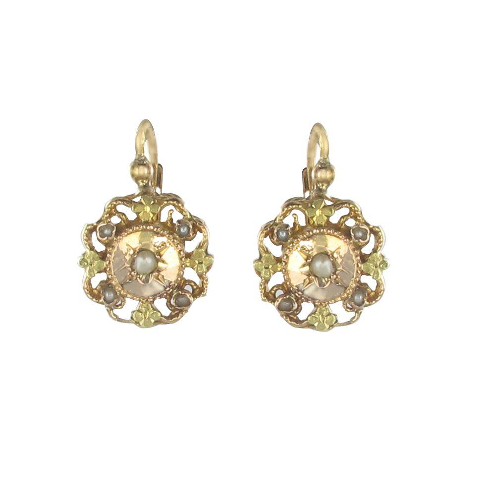 boucles d 39 oreilles dormeuses ors rose et vert perles fines bijouxbaume. Black Bedroom Furniture Sets. Home Design Ideas