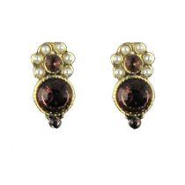 Boucles d\'oreilles fantaisie, Puces Perles et Cristaux de Swarovski