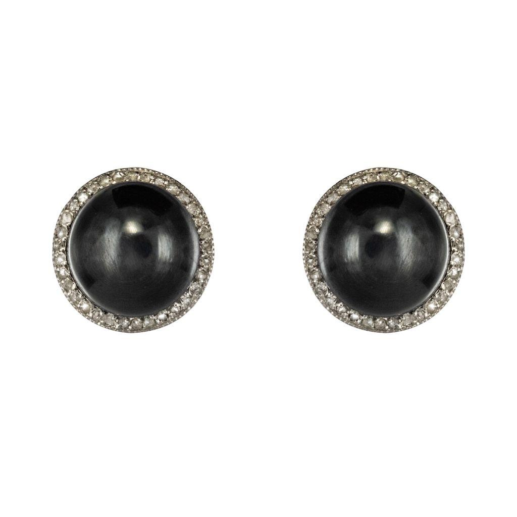 Boucles d\'oreilles hématites et diamants