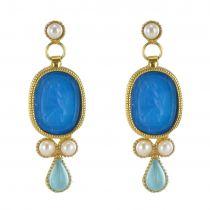 Boucles d\'oreilles intailles perle et cristaux