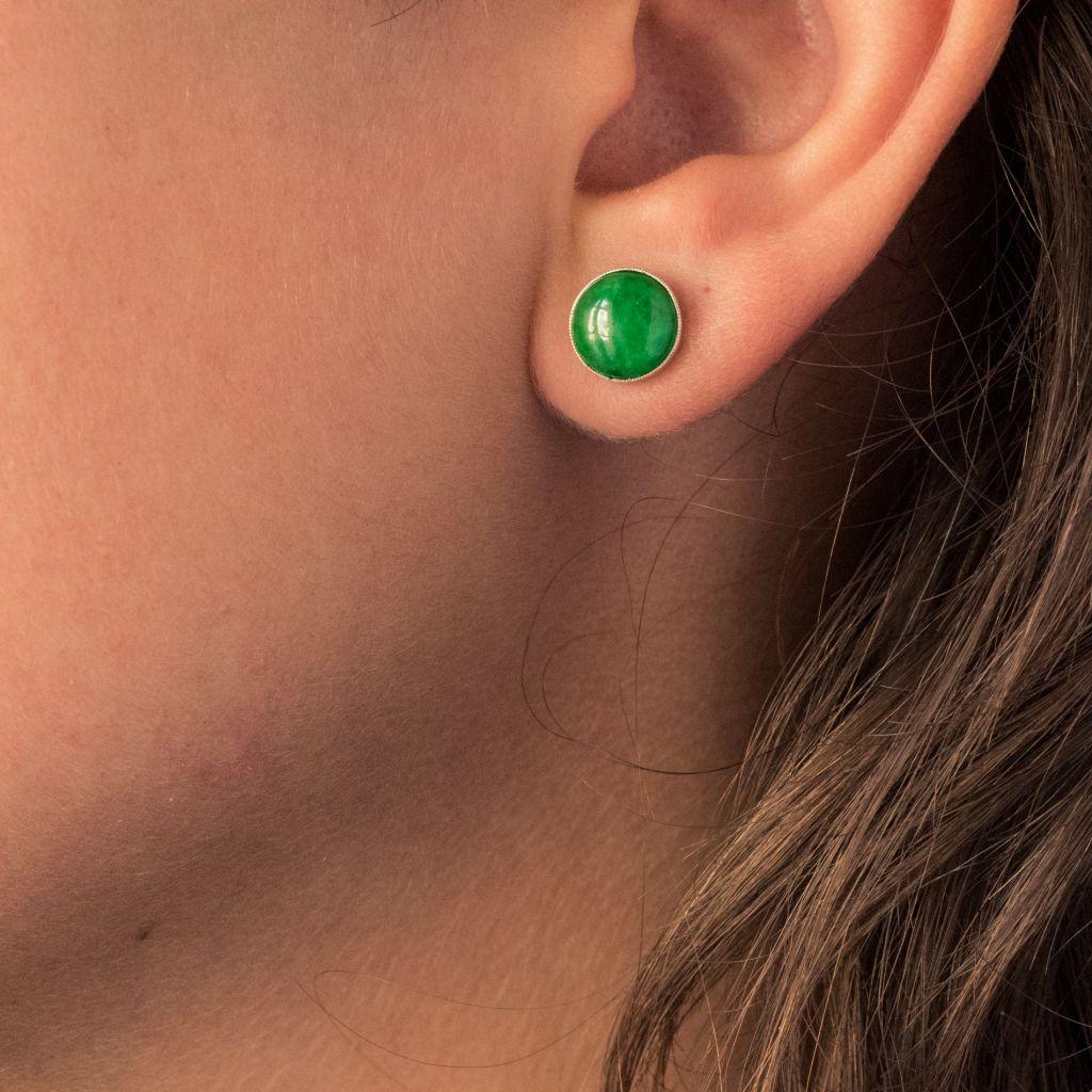 Boucles d\'oreilles jade et diamants