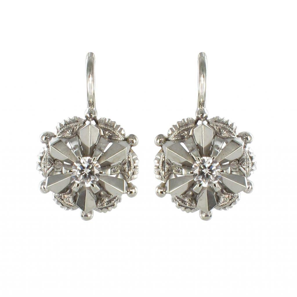 Boucles D Oreilles Or Blanc Diamant Dormeuse Vintage Bijouxbaume