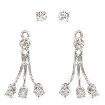Boucles d\'oreilles or blanc diamants