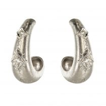 Boucles d\'oreilles or blanc satiné diamants