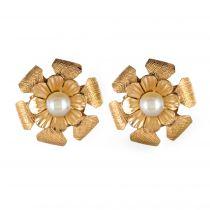 Boucles d\'oreilles or fleurs perles