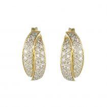 Boucles d\'oreilles or jaune et diamants