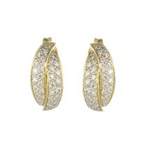 Boucles d\'oreilles or jaune et diamants