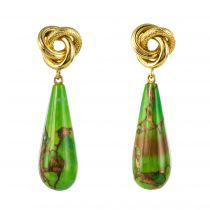 Boucles d\'oreilles or jaune et turquoise du Turkménistan