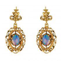 Boucles d\'oreilles or opales