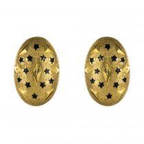 Boucles d\'oreilles ovales or et étoiles émaillées