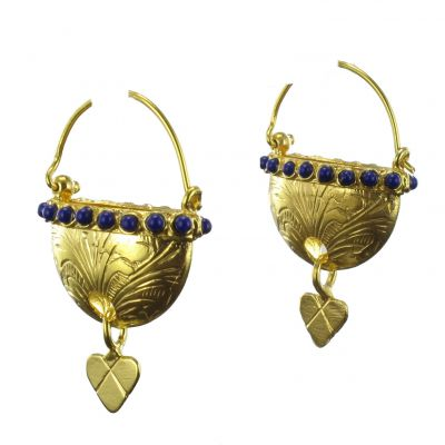 Boucles d\'oreilles Paniers de vermeil et perles bleues