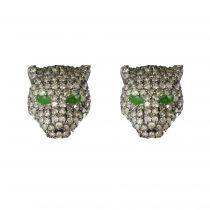 Boucles d\'oreilles panthères diamants
