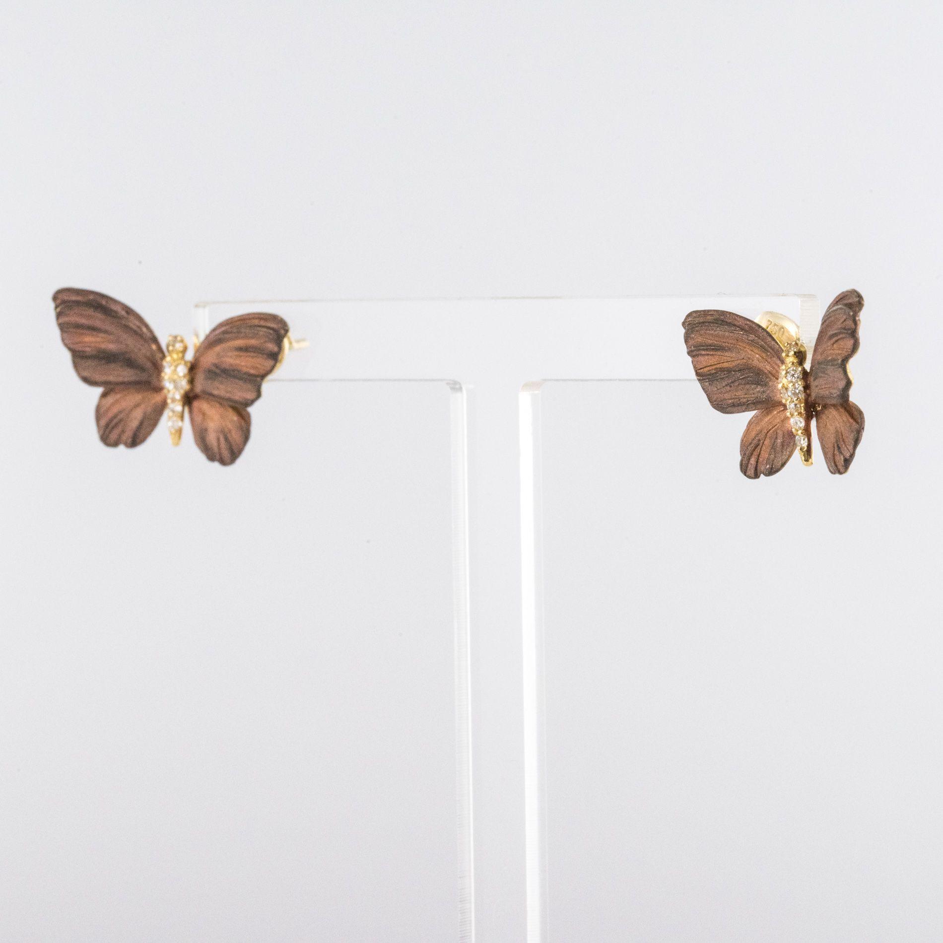 Boucles d\'oreilles papillons émail diamants