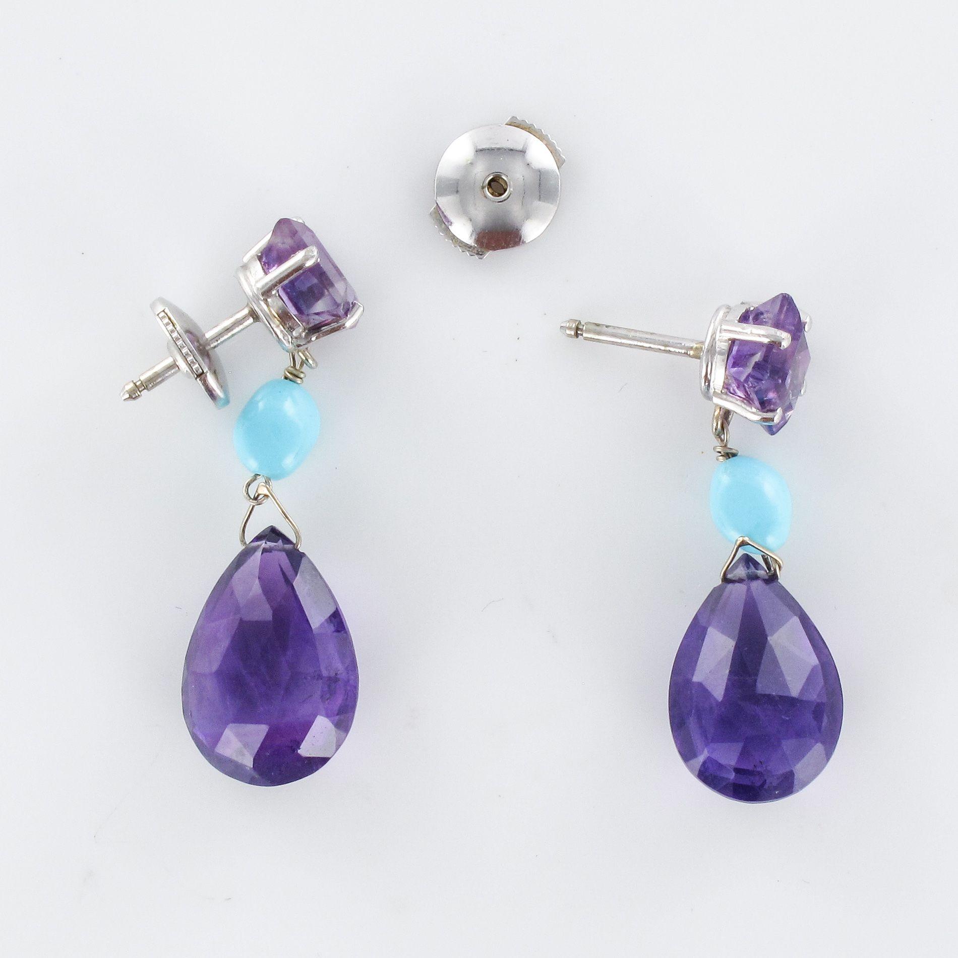 Boucles d\'oreilles pendantes améthystes et turquoises