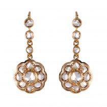 Boucles d\'oreilles pendantes diamants taillés en rose
