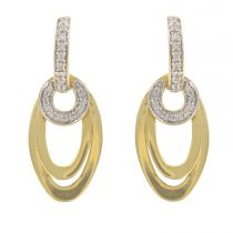 Boucles d\'oreilles pendantes or et diamants