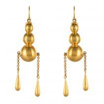 Boucles d\'oreilles pendantes perles et gouttes d\'or